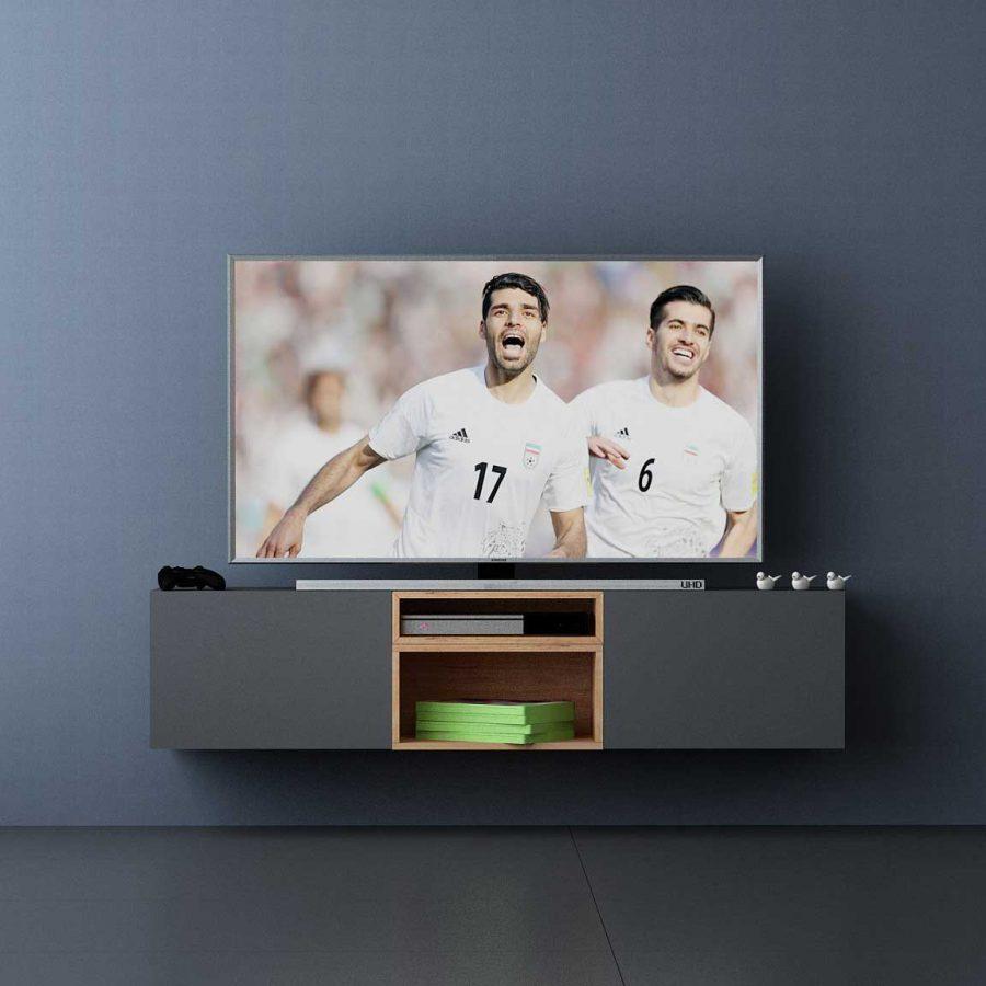 تصویر زیر تلویزیون دیواری باکسماکس ساخته شده از باکسدیواری