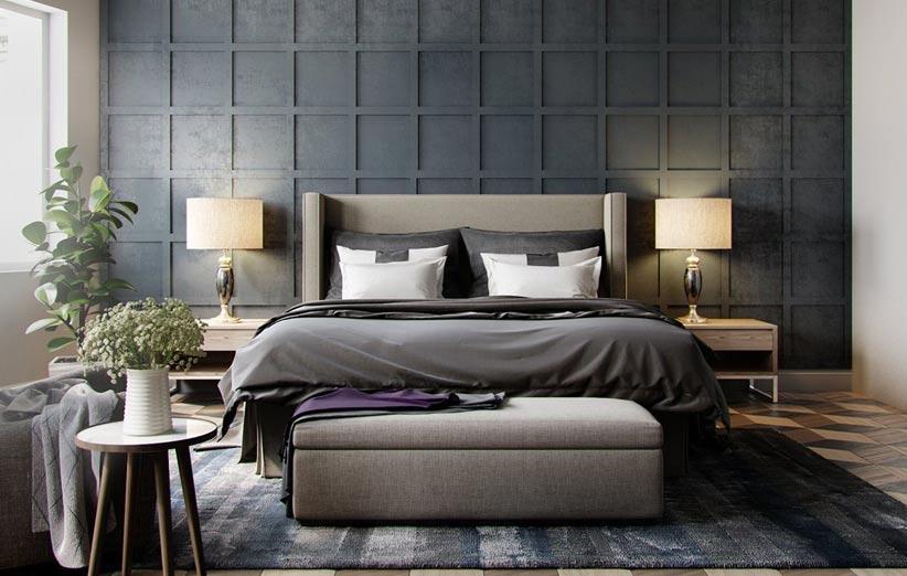 تصویر دکوراسیون اتاق خواب با رنگهای تیره