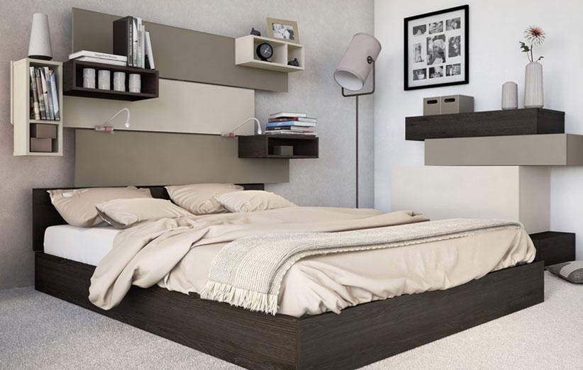تصویر دکوراسیون اتاق خواب با باکسهای دیواری