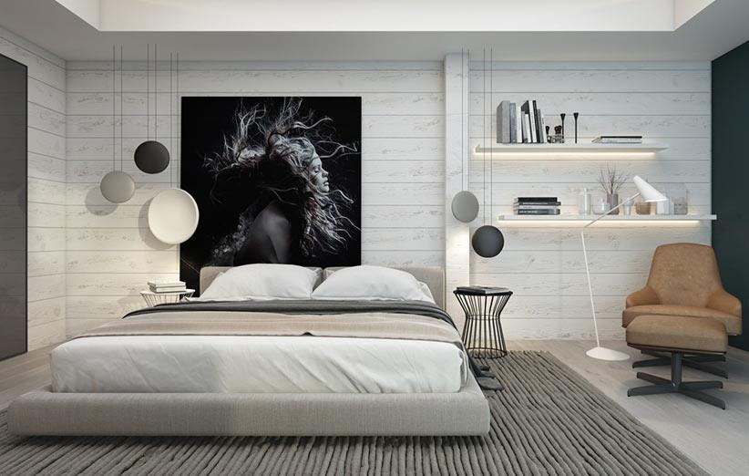 تصویر دکوراسیون اتاق خواب مدرن با شلف دیواری