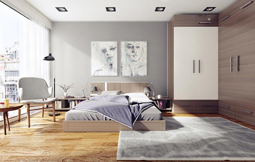 تصویر اتاق خواب با پنجرههای بزرگ