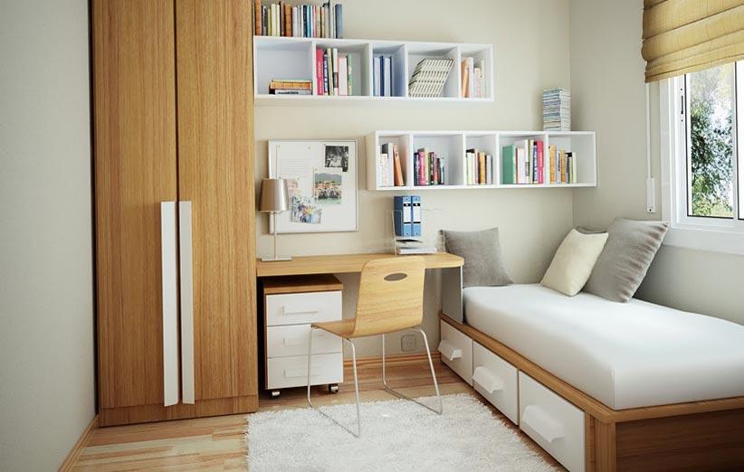 تصویر شلف و باکس دیواری در دیزاین اتاق خواب کوچک