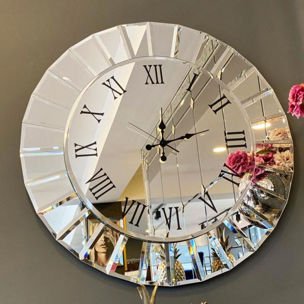 ساعت دیواری آینه ای گرد